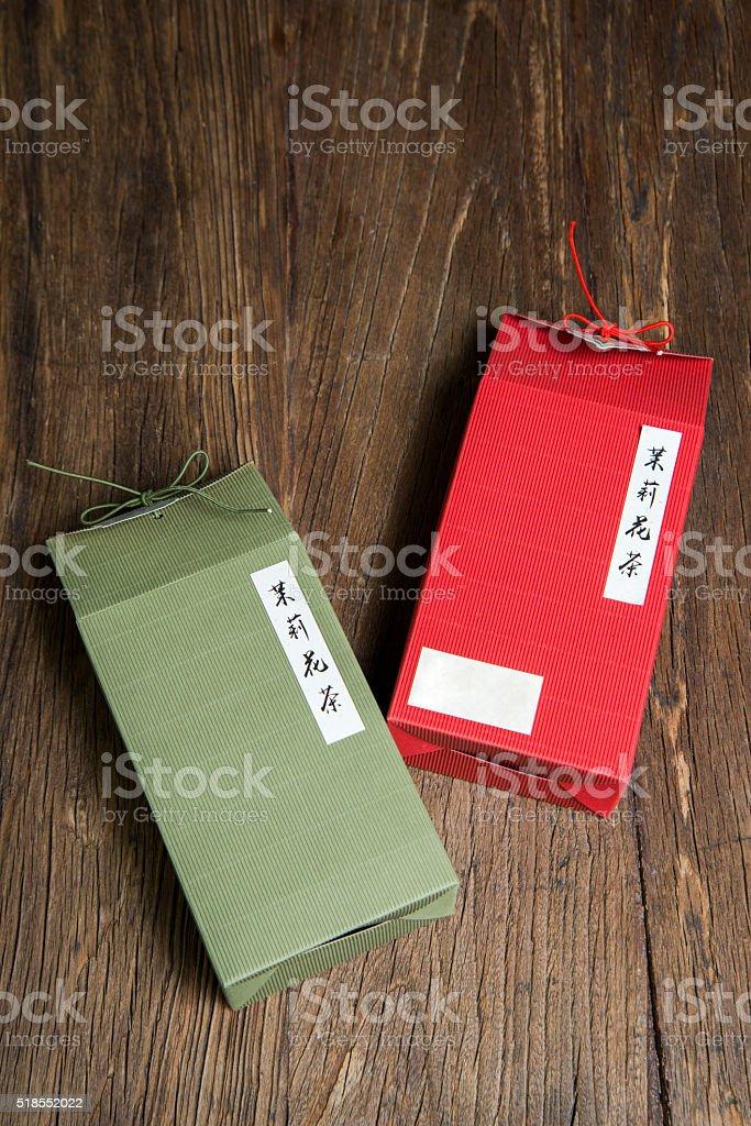 jasmine tea box stock photo
