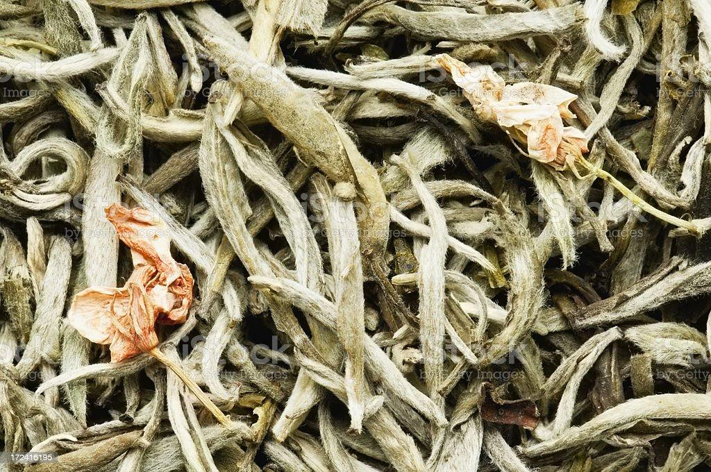 Jasmine tea leaves background from overhead stock photo