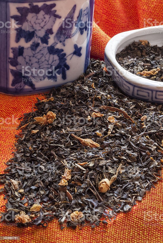 Jasmine-Tea-With-Blue-And-White-Chinese-Ceramic royalty-free stock photo