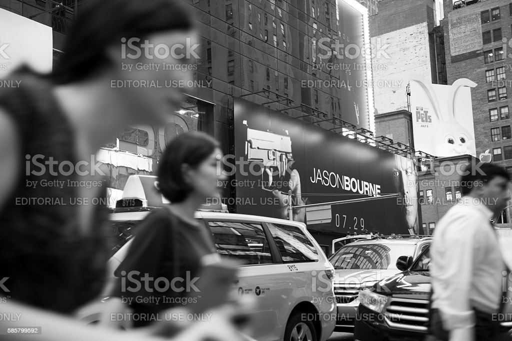 Jason Bourne movie ad in Times Square, New York City stock photo