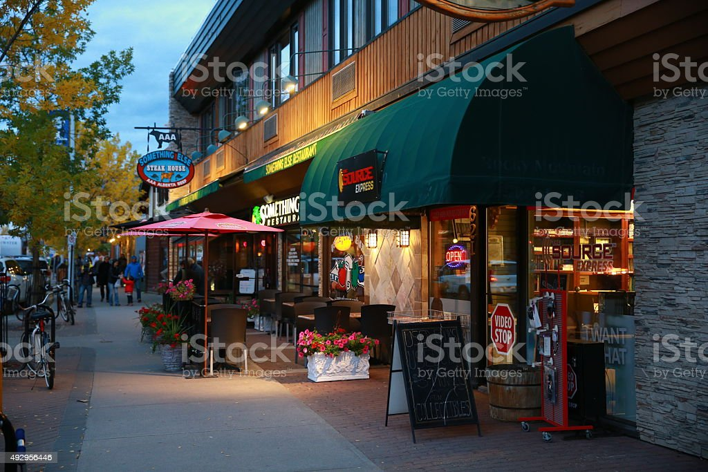 Jasper Downtown Attraction after sunset, Canada stock photo