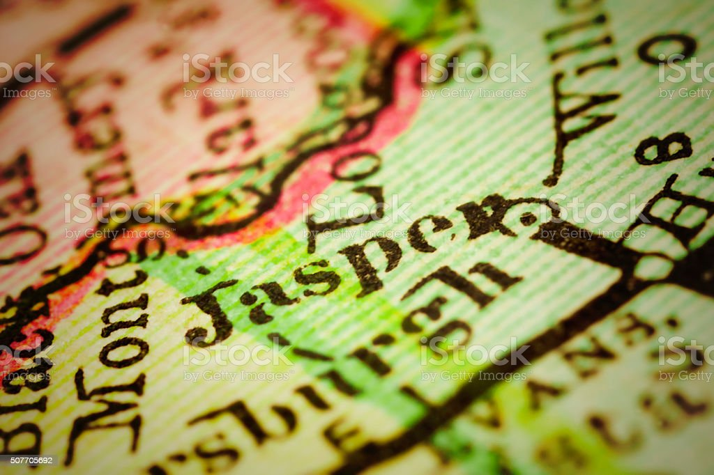 Jasper, Indiana on an Antique map stock photo