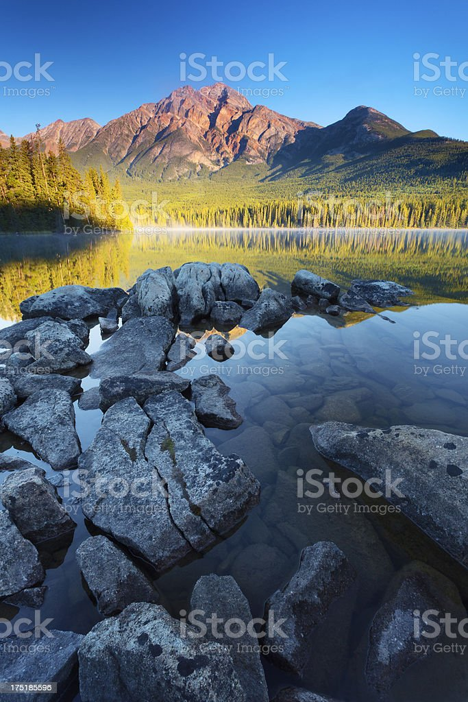 Jasper's Tranquil Pyramid Lake stock photo