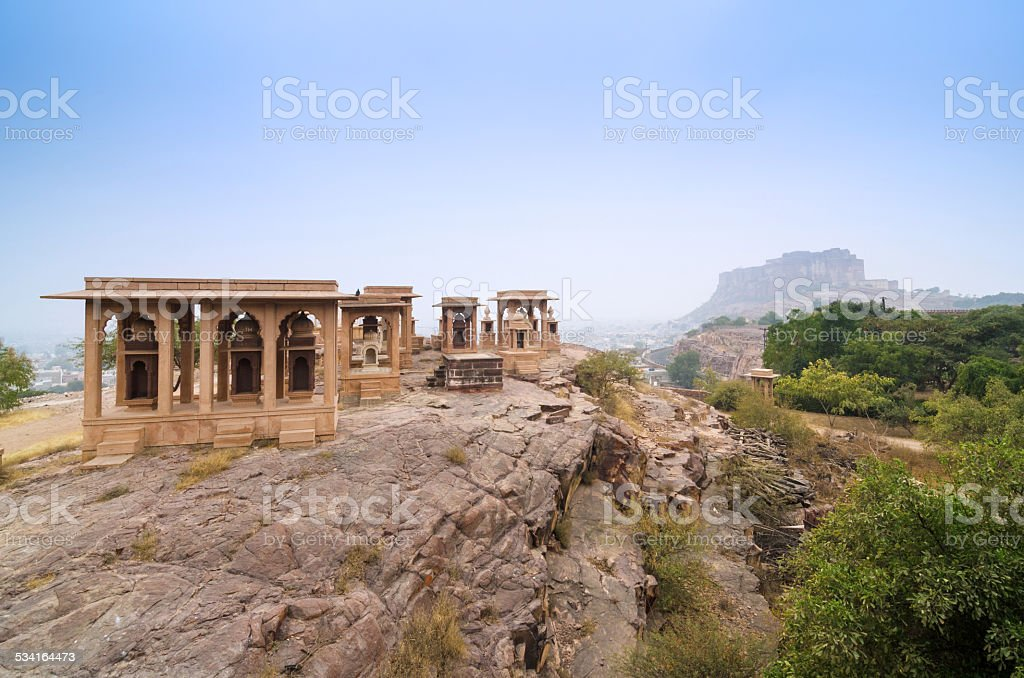 Jaswant Thada mausoleum with mehrangarh fort in the background stock photo
