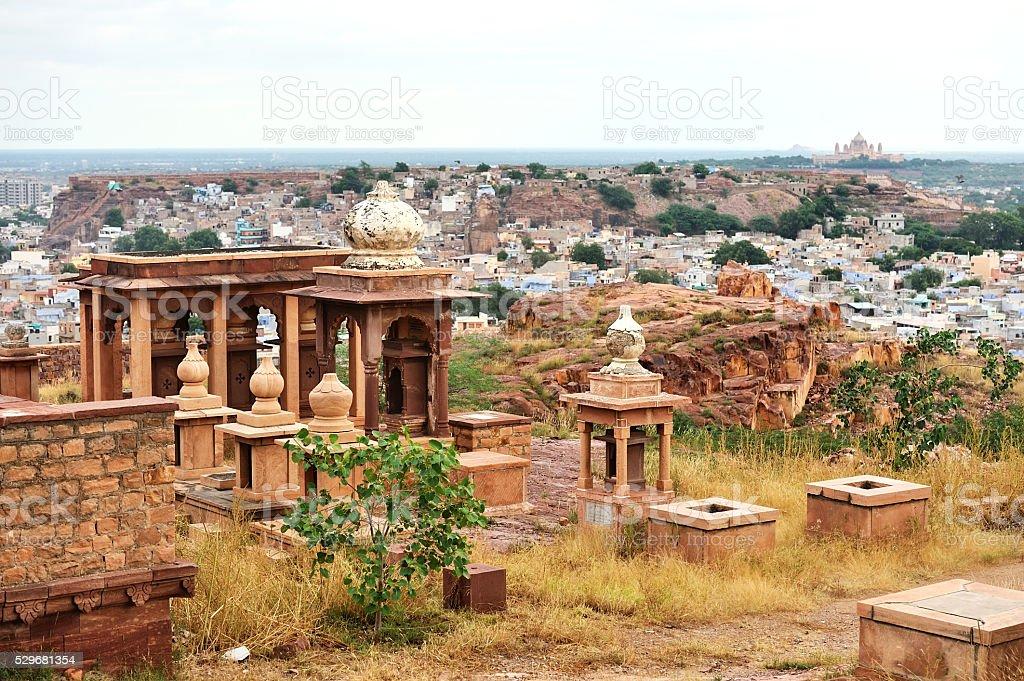 Jaswant Thada, the Ancient city ruins of Jodhpur in India stock photo