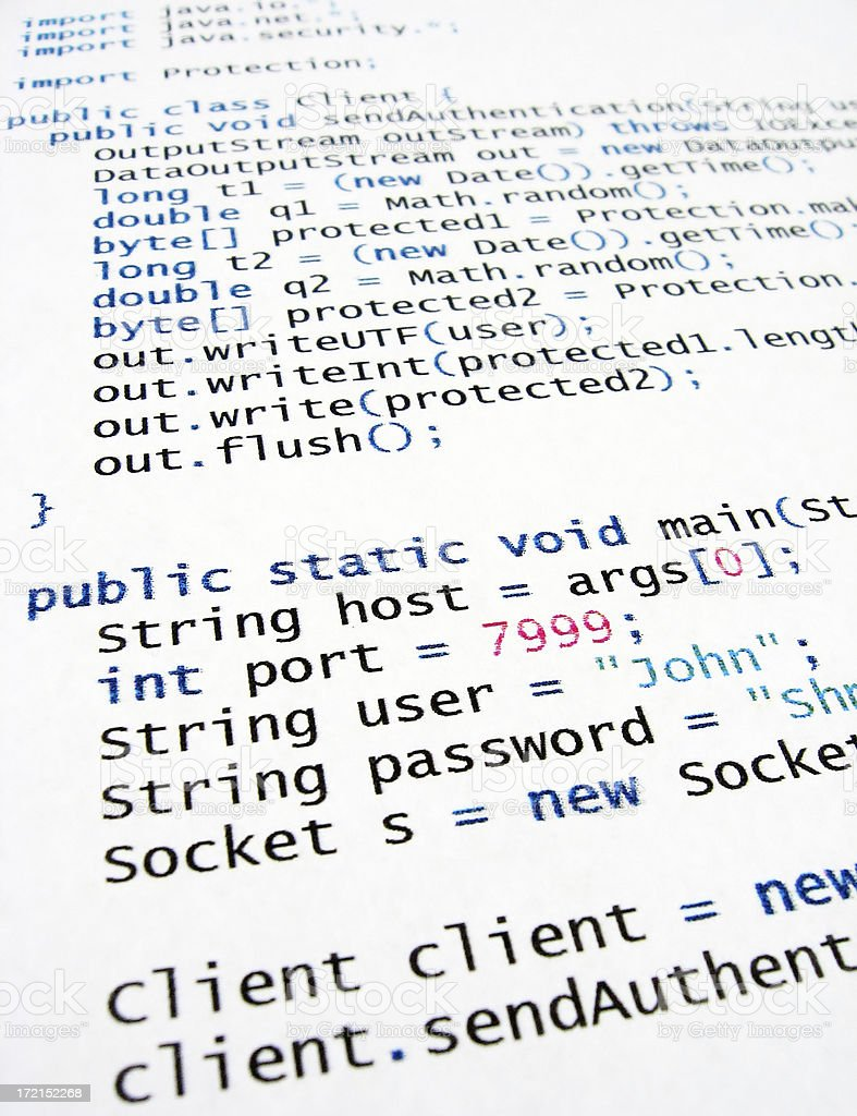Java code royalty-free stock photo