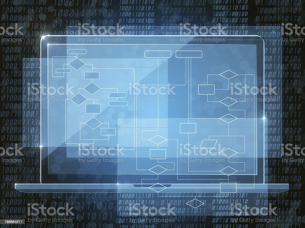 Java coding in blue on a laptop royalty-free stock photo
