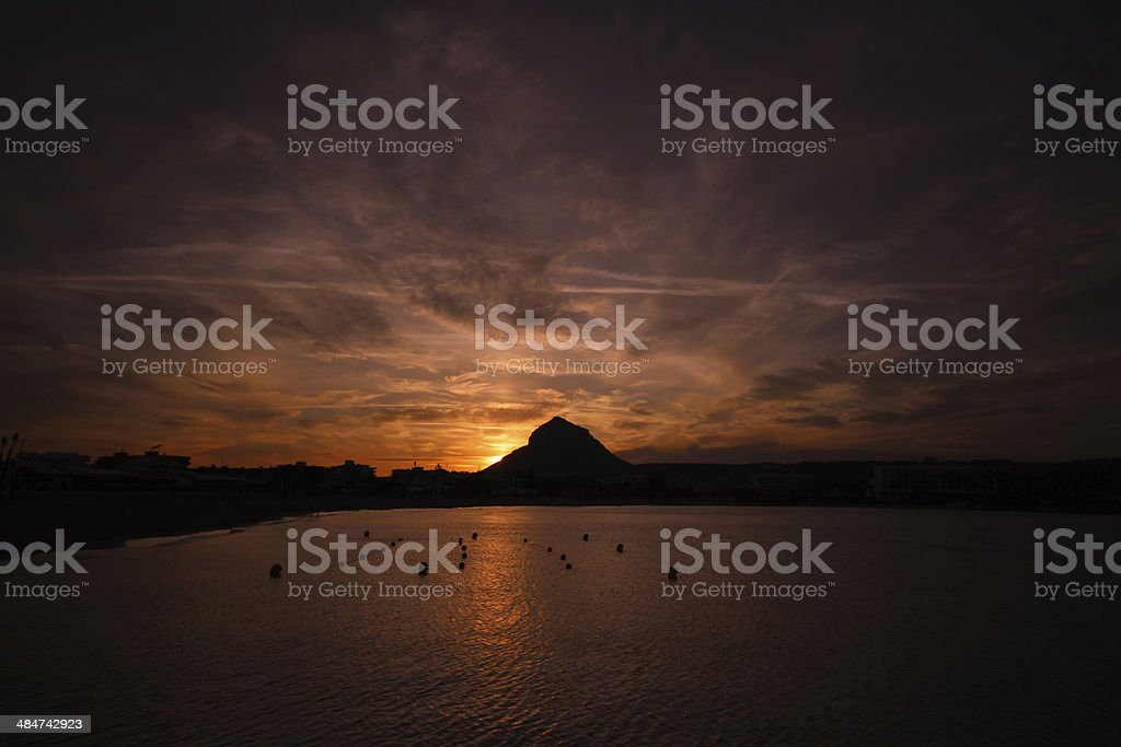 Javea, Spain at sunset stock photo