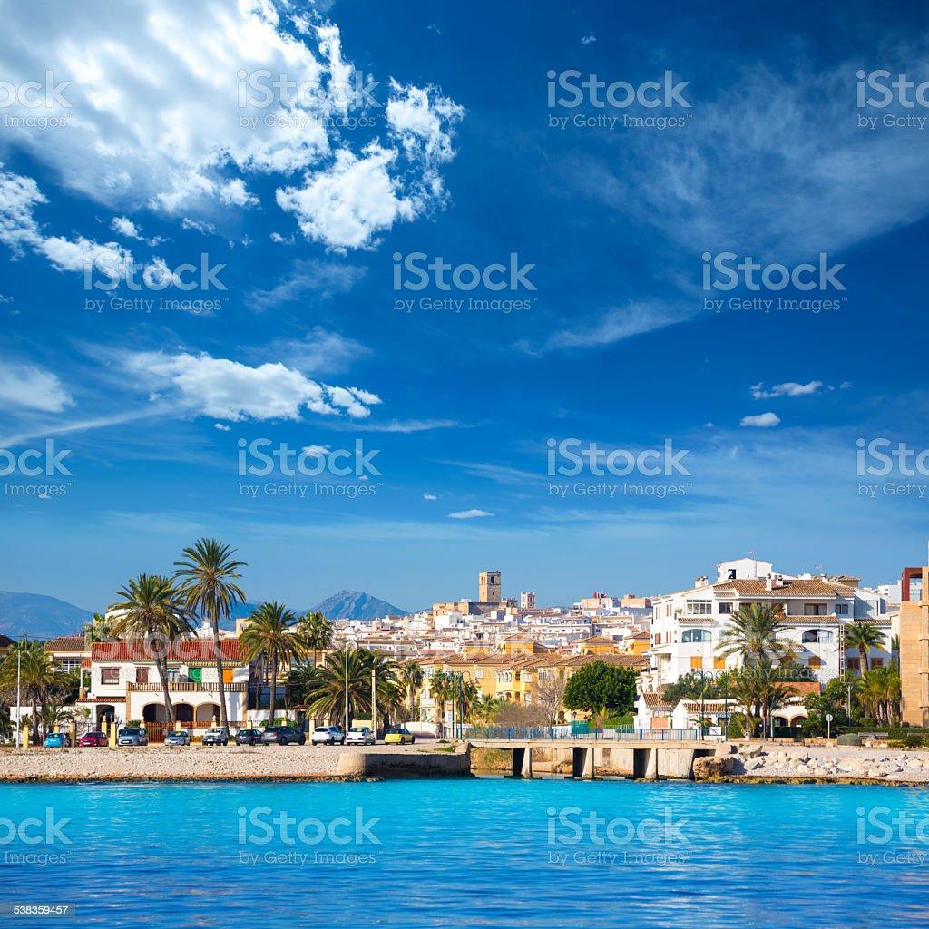 Javea Xabia skyline from Mediterranean sea Spain stock photo