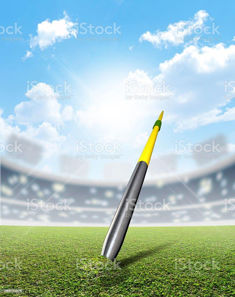 Javelin In Stadium And Green Turf stock photo