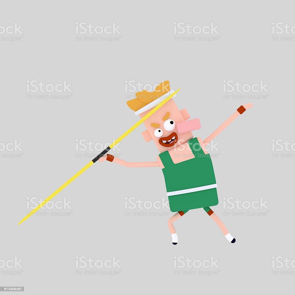 Javelin throw man stock photo