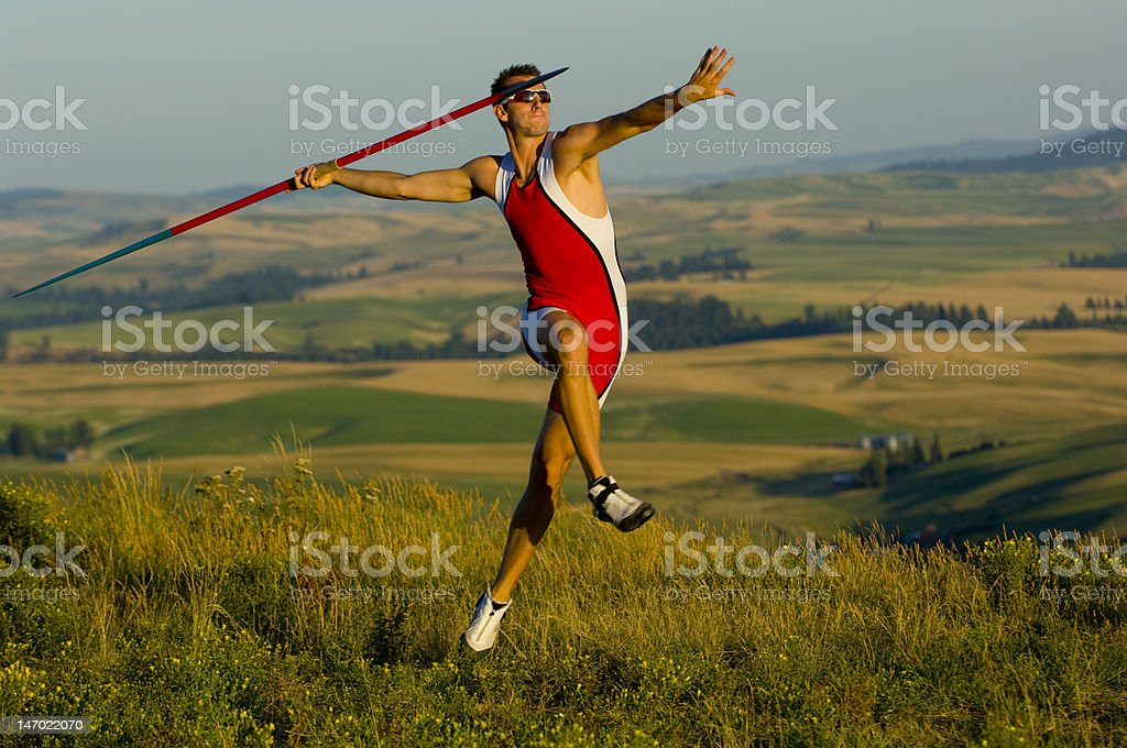 Javelin Thrower In Motion stock photo