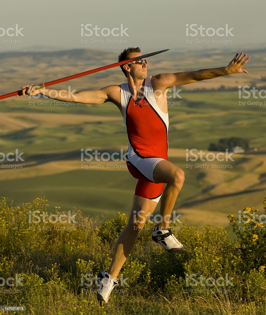 javelin Thrower In Motion Vertical royalty-free stock photo