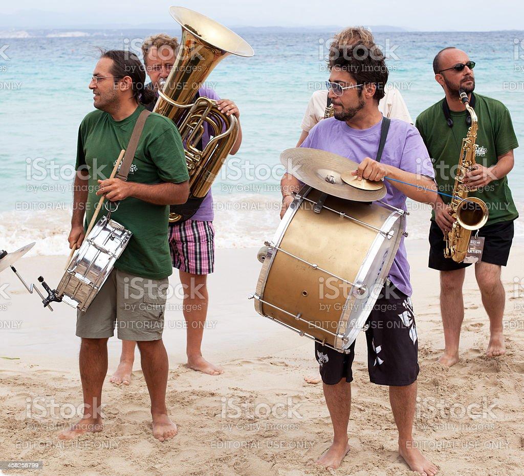 Jazz Band on the beach stock photo