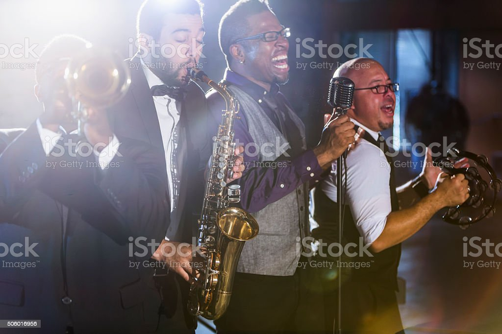 Jazz band performing at a nightclub stock photo