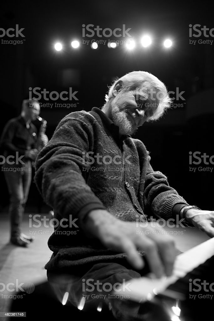 Jazz band performs on stage stock photo