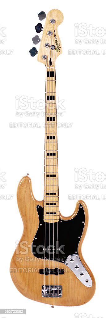 Jazz Bass guitar from Fender's lower-priced Squier line stock photo