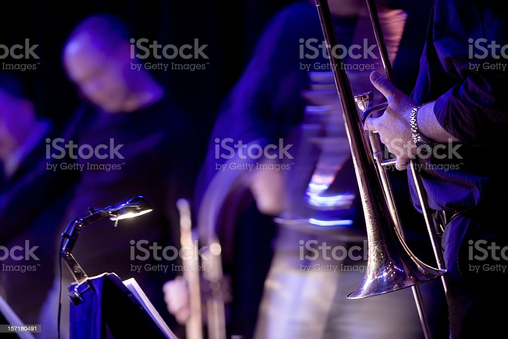 Jazz blues musicians live in performance on stage stock photo