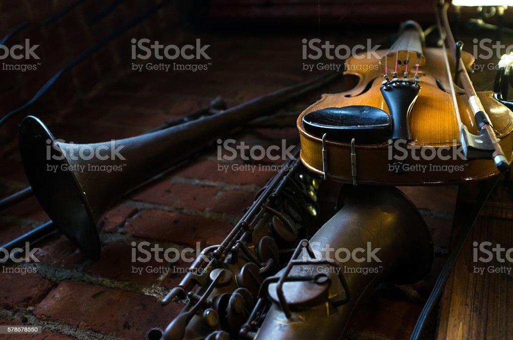 Jazz Club Instruments Night stock photo