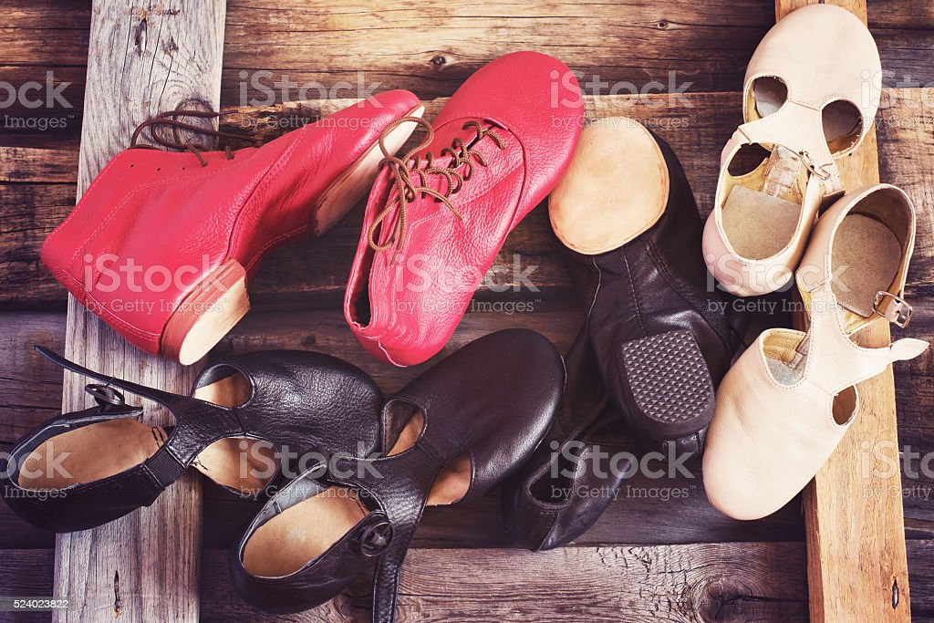 Jazz Dance shoes of different colors, image tinted stock photo