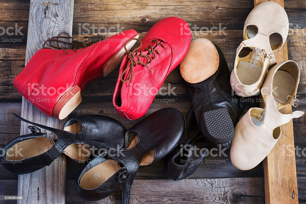 Jazz Dance shoes of different colors, top view stock photo