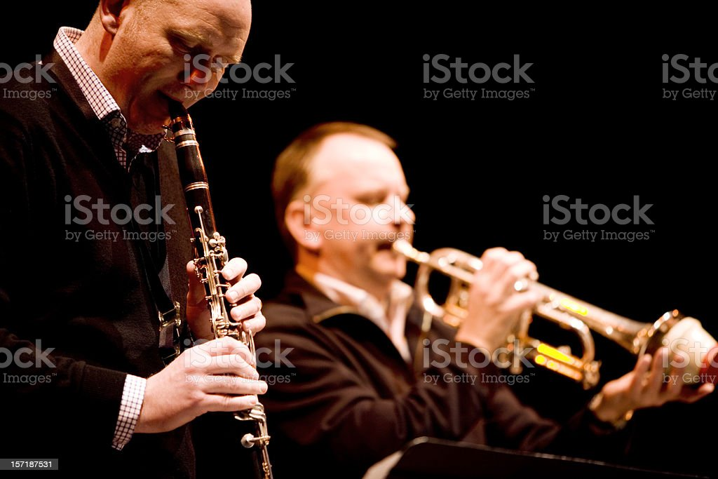 Jazz dixieland clarinet and muted trumpet duet stock photo