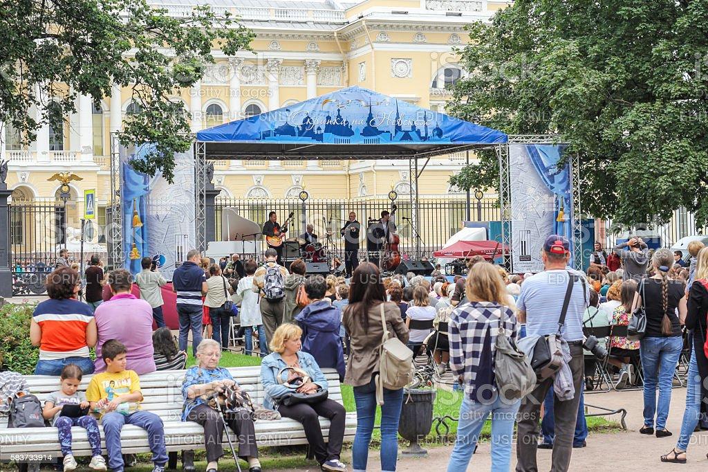 Jazz Festival 'Violin on Nevsky'. stock photo