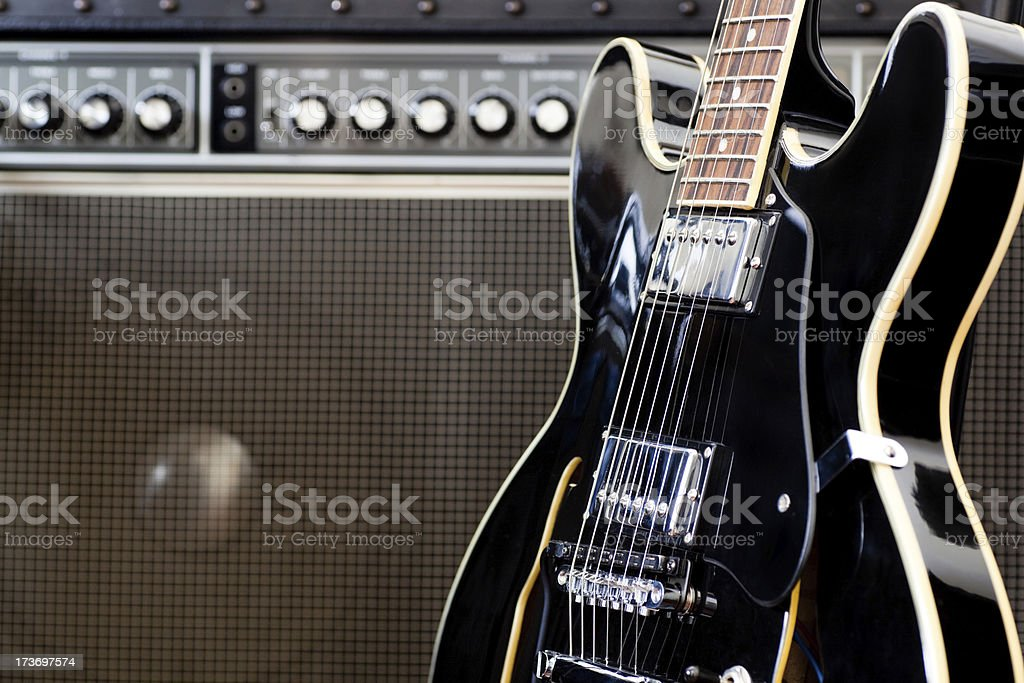 Jazz Guitar And Amp stock photo