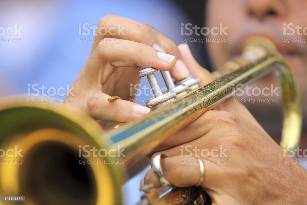 Jazz musician playing a trumpet stock photo