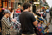 Jazz Musicians Busk in the French Quarter of New Orleans