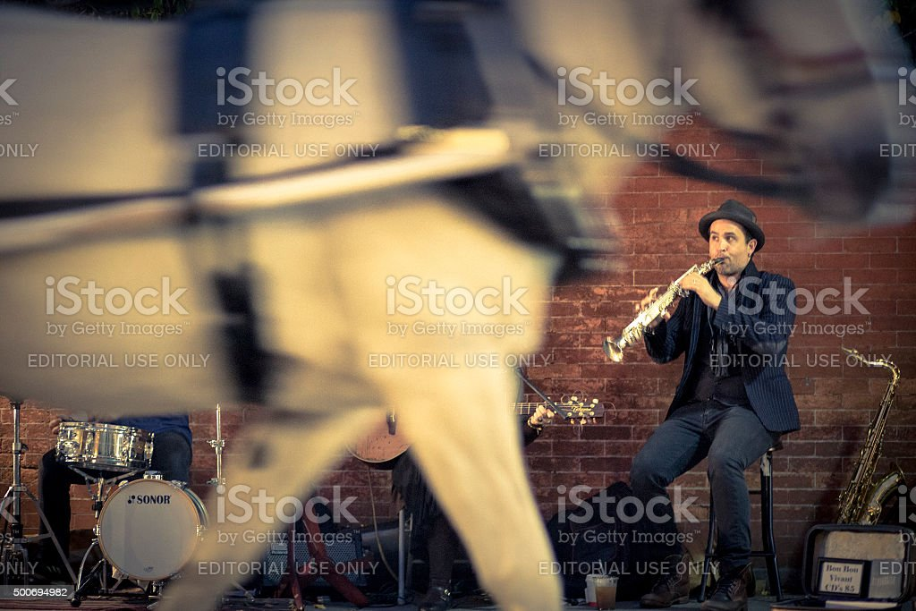 Jazz Musicians Busk in the French Quarter of New Orleans stock photo