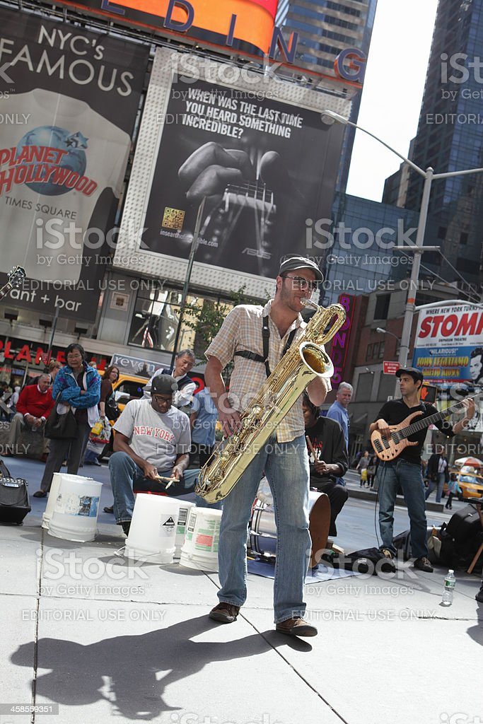 Jazz musicians perform in Times Square stock photo