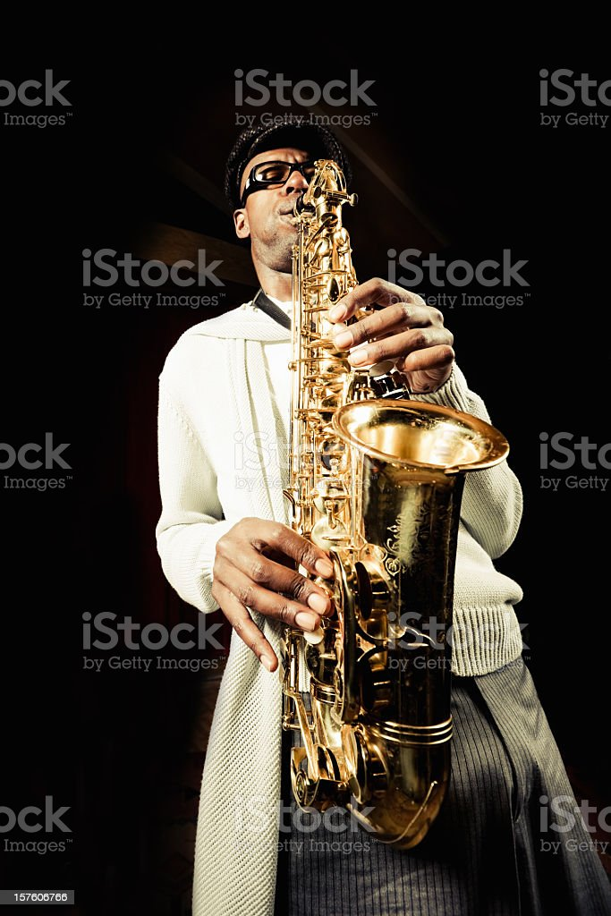 Jazz Saxophone Player stock photo