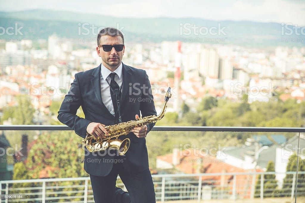 Jazz saxophone player stock photo