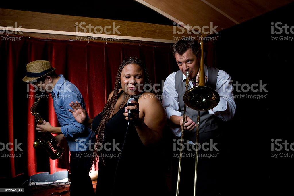 Jazz Singer and Band royalty-free stock photo