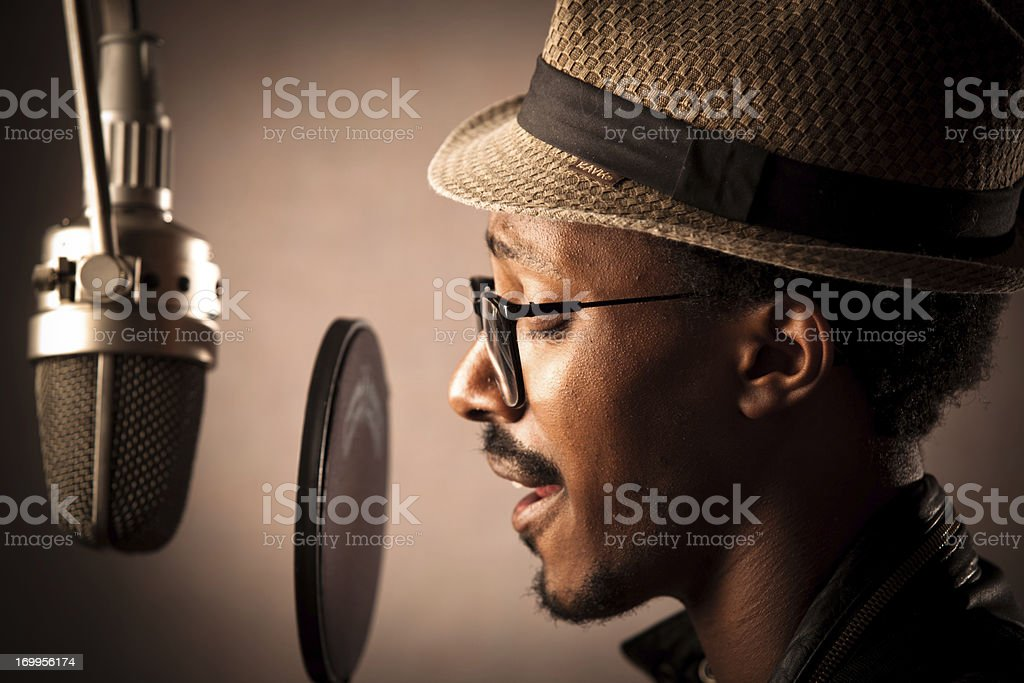 Jazz Singer Recording Vocals stock photo