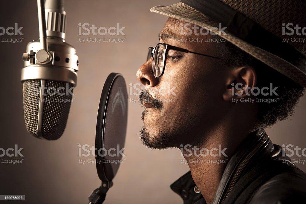 Jazz Singer Recording Vocals stock photo