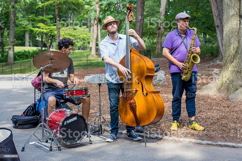 Jazz trio perform in Central Park, New York. stock photo