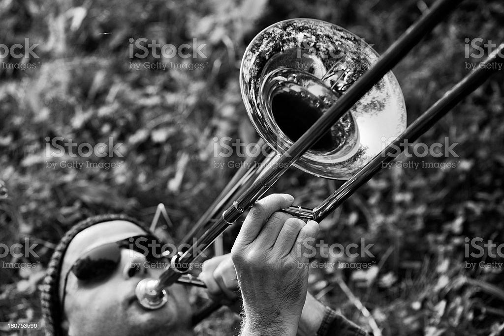 Jazz trombone in the park stock photo