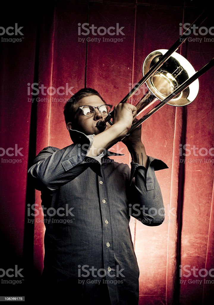 Jazz trombone royalty-free stock photo