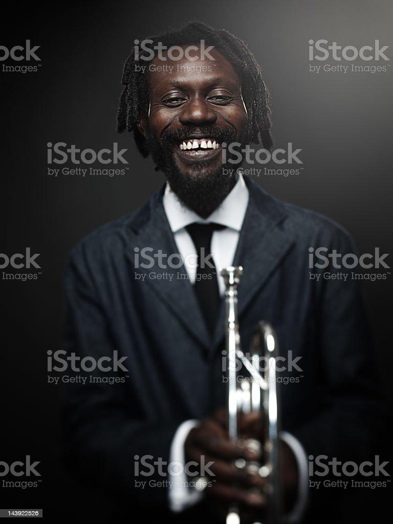 Jazz trumpet player stock photo