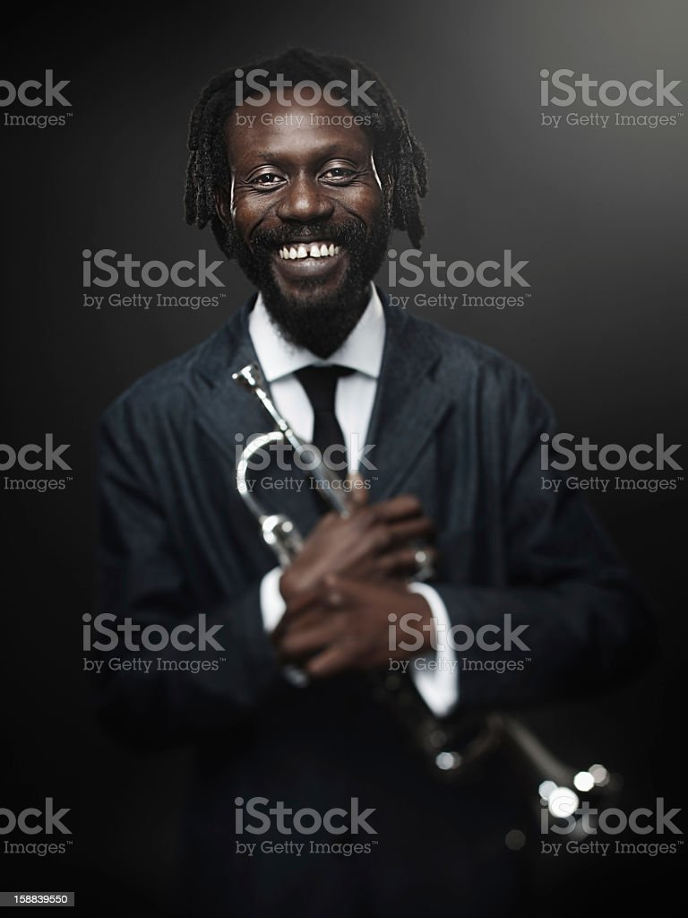 Jazz trumpet player royalty-free stock photo