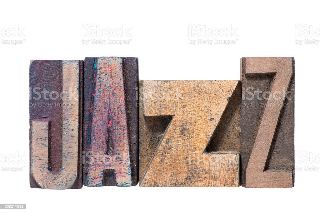 jazz word wooden stock photo