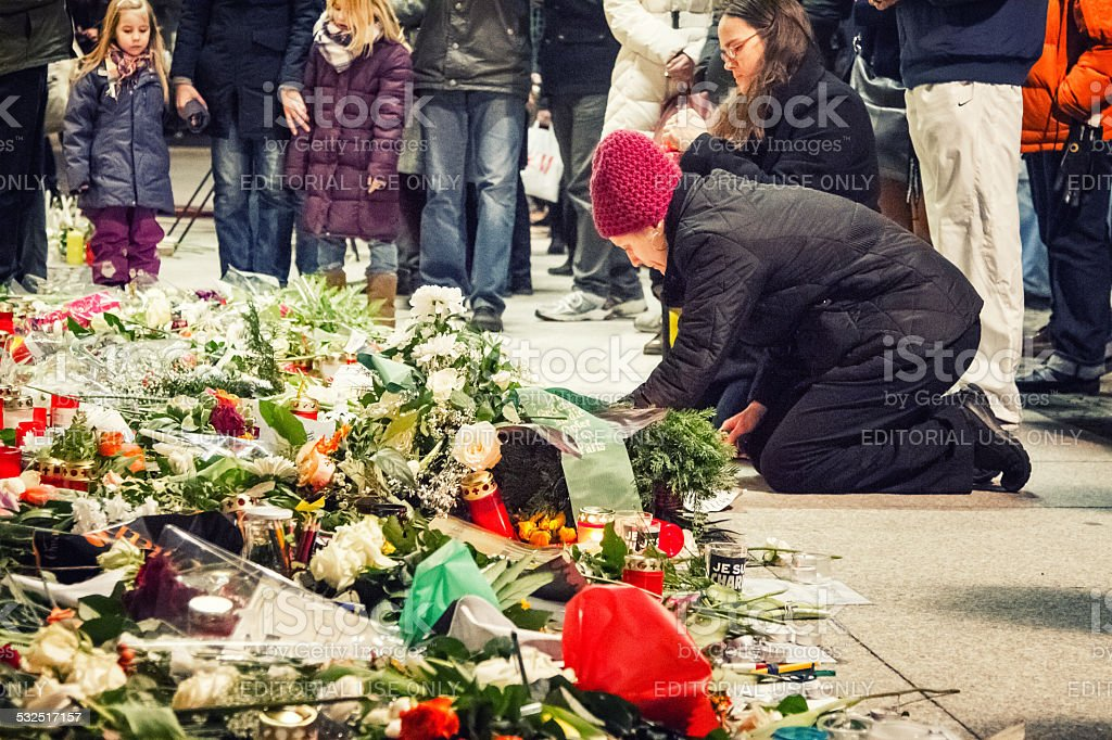 Je suis Charlie at french embassy in Berlin stock photo