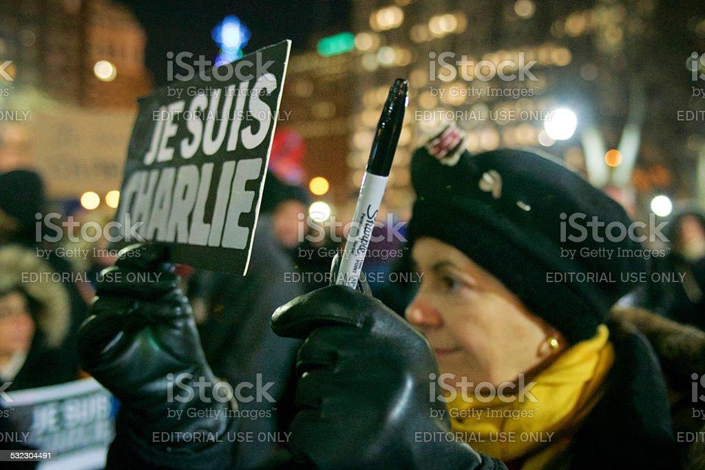 'Je Suis Charlie' vigil in Philadelphia, PA stock photo