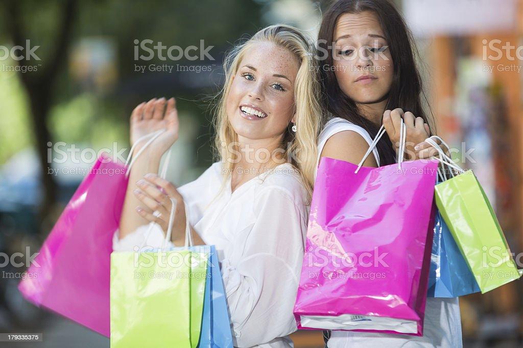 Jealous shoppers royalty-free stock photo