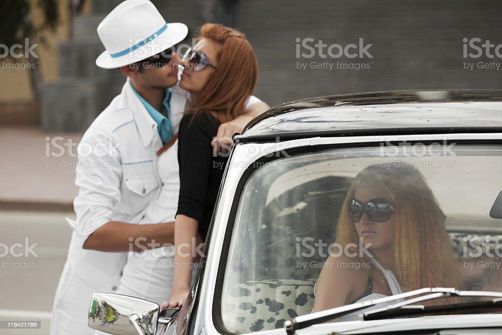 Jealousy in a retro car royalty-free stock photo