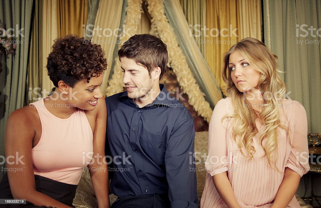 Jealousy in Victorian Room Interior stock photo