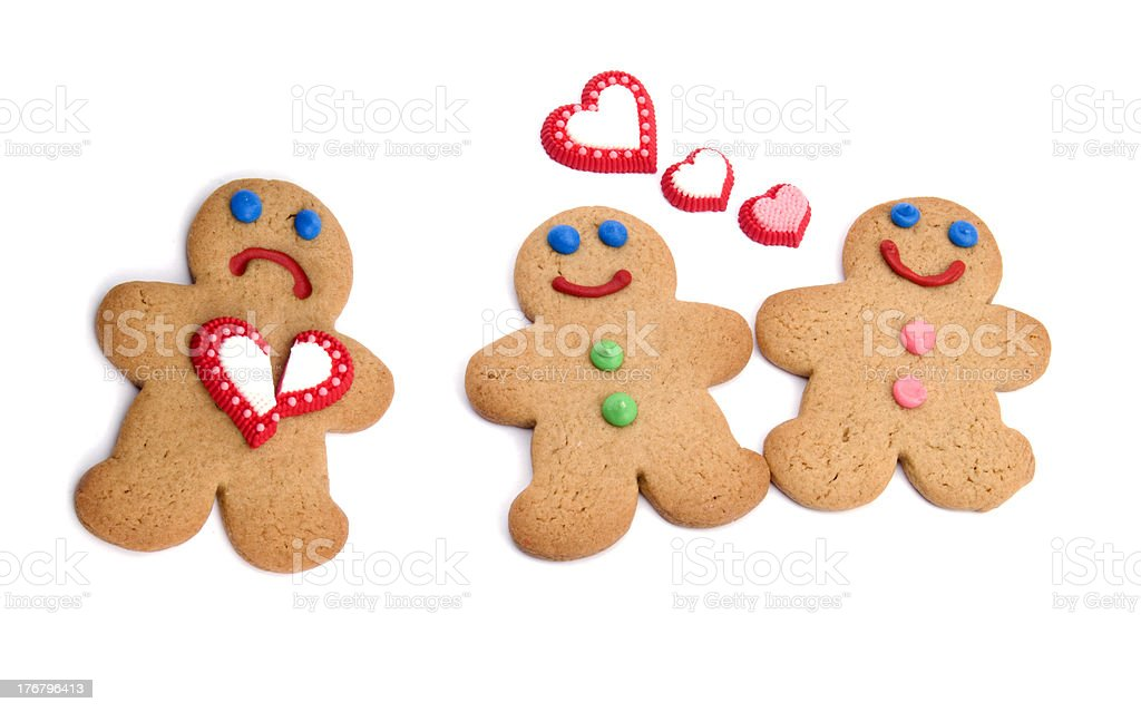 Jealousy or Romance Concept, Gingerbread People in Love stock photo