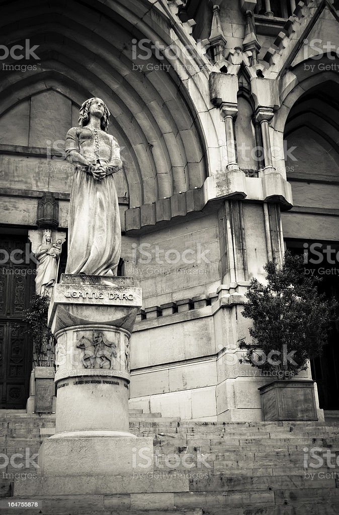 Jeanne d'Arc at L'eglise des Reformes (1855) in Marseille royalty-free stock photo